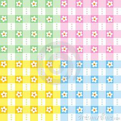 Floral gingham seamless patterns