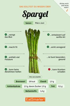 should know that about asparagus! nutrition asparagus - - You should know that about asparagus! nutrition asparagusYou should know that about asparagus! nutrition asparagus - - You should know that about asparagus! Diet And Nutrition, Health And Nutrition, Health Tips, Health Fitness, Nutrition Guide, Holistic Nutrition, Nutrition Activities, Complete Nutrition, Nutrition Articles