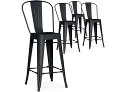 Lot de 4 chaises de bar Gordon métal Noir Mat - 159€