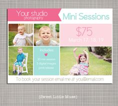 Photography marketing template  5x7 mini by sweetlittlemuse, $7.00