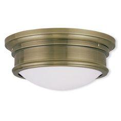 "Livex Lighting Kenneth 2 Light Flush Mount Size: 6.5"" H x 15.5"" W, Finish: Antique Brass"