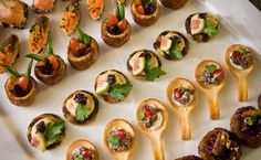 CANAPÉ                                                       1. Take only one  2. Take in one bite   3. If the piece is too big for your mouth, pass it up  4. Time your bite, in between conversations  5. Don't double dip your bit  6. Never put something you've eaten off (spoon, skewer, etc)  back on a tray that is still circulating