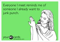 Everyone I meet reminds me of someone I already want to junk punch.