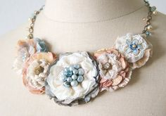 Floral Bib Necklace Fabric Flower Necklace by rosyposydesigns