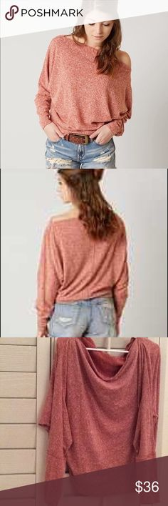 """NWT Free People Valencia Off Shoulder Top Off-the-shoulder - Long dolman sleeves with banded cuffs - Knit construction - Imported Fiber Content 69% polyester, 31% cotton. #115 Size XS : Bust 46"""" Length 24""""   Size S : Bust 48"""" Length 24"""" oversized.  Brand new with tag   Size M : bust 50"""" Length 26"""" Brand new without tag   Size L : Approx. 26"""" length, 52"""" Bust Brand new without tag Free People Sweaters"""