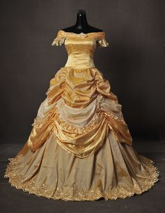 Park golden beauty and the beast belle adult cosplay costume gown dress 드레스 Adult Belle Costume, Belle Halloween Costumes, Robes Disney, Disney Dresses, Pretty Outfits, Pretty Dresses, Beautiful Dresses, Costume Dress, Cosplay Costumes