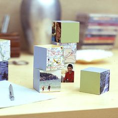 Design vacation blocks for a coffee table or desk using photos from your summer trips.
