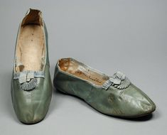 Slippers: ca. 1820, English (probably), leather, silk, calfskin.