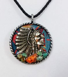Custom Cowgirl Pendant GYPSY INDIAN WARRIOR Turquoise Western by Holly Ann our prices are WAY BELOW RETAIL! all JEWELRY SHIPS FREE! www.baharanchwesternwear.com baha ranch western wear ebay seller id soloedition
