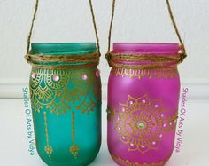 Set of 6 Bohemian Moroccan Mason Jar Tinted Lanterns Lighting