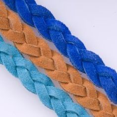 Flat Braided Suede, Colors - Turquoise, Orange, Blue. 3x5. #leather