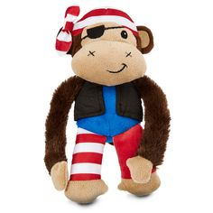 Leaps & Bounds Long Arm Pirate Monkey Dog Toy