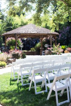 Outdoor Ceremony Set Up White Chairs | The-Palms-Chico-California-Wedding-Photographer