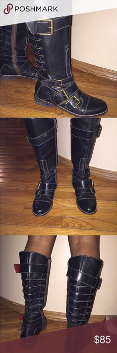Lucky  Brand Leather riding boots. Lucky Brand Leather riding boots with multiple straps and buckles. Lucky Brand Shoes Winter & Rain Boots