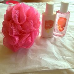 Bath set bundle Pink luffa. Passion berry vanilla body lotion and shower gel. 2fl oz each. Ulta Other