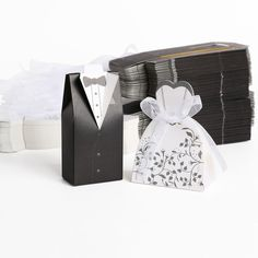 100x Hochzeit Gastgeschenk Kartonage Braut Bräutigam Anzug Schachtel Geschenkbox