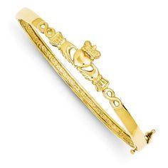 14k 4mm Diamond-cut Claddagh Hinged Bangle Bracelet DB249