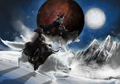 Tarveth and his wife Evessa on their direwolves, traversing the snowscapes of Skyrim in the light of the twin moons. Skyrim, Twins, Sci Fi, Deviantart, Fantasy, Science Fiction, Imagination, Fantasy Books, Twin