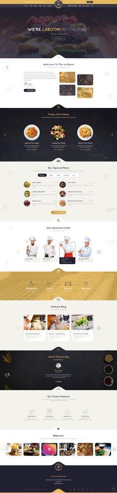 La Boom - Food & Restaurant PSD Template #burger #cafe #chief • Download ➝ https://themeforest.net/item/la-boom-food-restaurant-psd-template/19650715?ref=pxcr