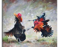 Oil Painting, Original Art, Large Canvas Art. Animal Oil Painting, Fighting Rooster Painting.