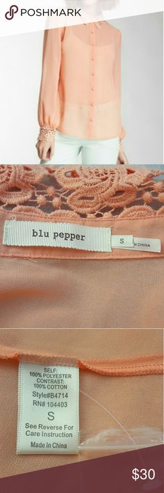 """Blu Pepper Lace Collar top Blu Pepper Women's Small Peach Lace Collar Top Button Down Shirt  Length:25"""" Bust:18""""  Gently used with no flaws. Please see photos for exact details. Thank you for patronizing us. Blu Pepper Tops Button Down Shirts"""