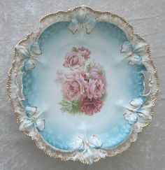 Antique RS Prussia Floral Roses Porcelain Round Handle Serving Bowl Dish.