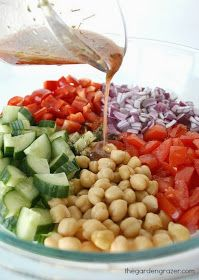 The Garden Grazer: Ultimate Greek Chopped Salad. I would omit the beans and add olives instead.