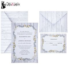Gold Leaves Wedding Invitations