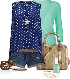 """Mint & navy polka dots"" by alysia123 on Polyvore"