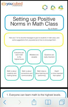 Jo Boaler - Math Community Norms to Work Toward… Math Teacher, Math Classroom, Teaching Math, Maths, Teaching Tools, Teacher Stuff, Math Strategies, Math Resources, Math Activities