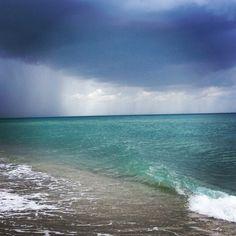 Florida Beach Scenes South Rain Sneaking Up Keys Beaches