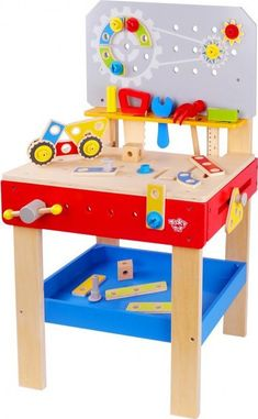 Pidoko Kids Wooden Workbench with Tools and Accessories - Pretend Toys Constr. Wooden Work Bench, Kids Workbench, Tool Bench, Construction Tools, Preschool Toys, Toys Shop, Pretend Play, Educational Toys, Fine Motor