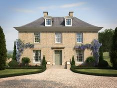 For this new-build residential project in Gloucestershire, Richmond Bell Architects were approached by Sherbourne Developments and commissioned to design a large country house, along with all landscaping works. The neo-Georgian project features exposed oa Up House, House Front, Style At Home, Georgian Style Homes, Georgian Mansion, Georgian Interiors, Georgian Architecture, Ancient Architecture, Sustainable Architecture
