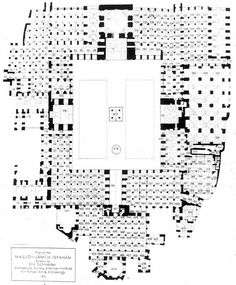 Fig 83 - Congregational Mosque Plans showing amorphous exterior - 12th century - Isfahan - baked brick - Religious Architecture - the exterior of the mosque blends into its surroundings making it easy to expand out in any direction. - pg 156