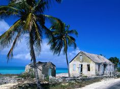 Buildings from an Old Settlement on the Shore, Cat Island, Bahamas Photographic Print by Greg Johnston at Art.com