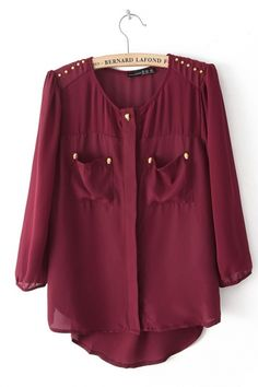 Studded Patch Pockets Chiffon Blouse// burgundy for fall//