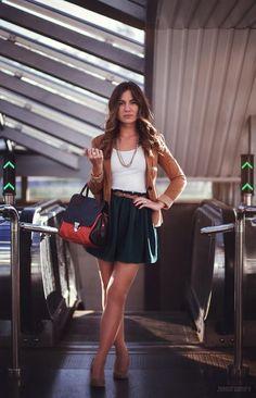 Shop this look on Kaleidoscope (skirt, blazer, tank, purse, pumps)  http://kalei.do/WOENz2Owgsgq8bHg