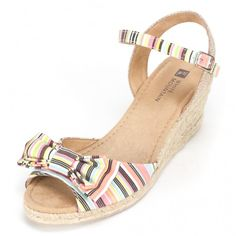 White Mountain Shoes Suntan Pink & Multi Striped Wedge Peep toe with bow detail canvas upper working buckle with elasticated expander at ankle strap jute bottom
