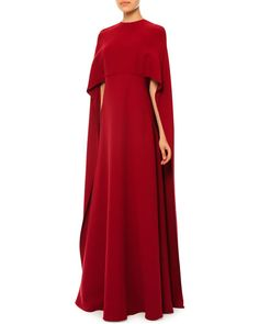 "Valentino	 Jewel-Neck Half-Sleeve Capelet Gown, Red       •Valentino woven capelet gown. •Approx. length: 61""L down center back. •Jewel neckline. •Half sleeves. •Relaxed silhouette. •Hem falls to the floor. •Flyaway back; button closure. •Hidden back zip. •Silk."