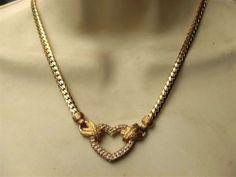 Vintage 1980s Christian Dior 14k Rolled Gold Crystal Heart Necklace Signed | eBay
