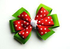 Green w/Red Polka Dots Layered Christmas Hair Bow