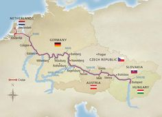 VIKING MAP:  Viking River Cruise's 15-day Grand European Tour. Sail from Amsterdam to Budapest
