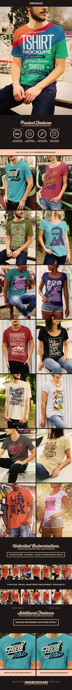 "Premium Male & Female Tees Realistic Mockups"" Features - 14 Psd Files Smart Object Replacement px 300 dpi / RGB Well Organized Layers Editable Quick Graphic Replacement Vintage Distressed Graphic Effect Included Stencil Templates, Mockup Templates, T Shirt Design Template, Design Templates, Mockup Photoshop, Shirt Mockup, Creative Sketches, Pencil Illustration, Watercolor And Ink"