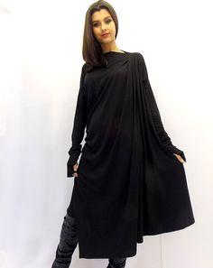 Black Maxi Dress / Asymmetric Plus Size Black Dress / by Teyxo, $79.00