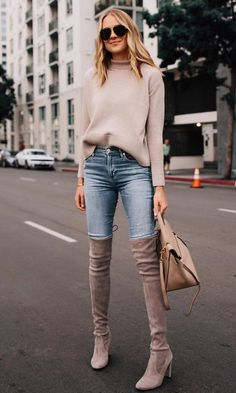 amazing winter outfit / blush sweater bag jeans over knee boots