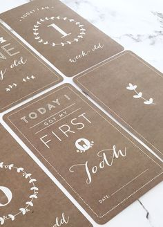 Queen Bee Baby Milestone Cards in Natural Design by My Little