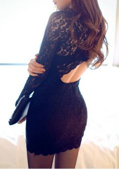 Trendy Round Collar Long Sleeve Hollow Out Lace Dress For Women
