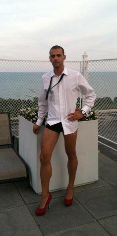 Man in heels in public.