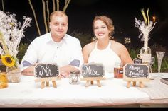 Chalkboard MR AND MRS signs