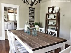 I like the table & shelf and the burlap looking balanced in the kitchen...pretty much this whole look!
